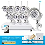 Zmodo 1080p 8CH HDMI NVR 1TB HDD - 8 x 1.0 Megapixel WiFi Wireless Outdoor Indoor Home Security Camera System Easy Setup and Remote Access