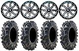 Bundle - 9 Items: MSA Lok 14'' ATV Wheels 32'' Terminator Tires [4x110 Bolt Pattern 10mmx1.25 Lug Kit]