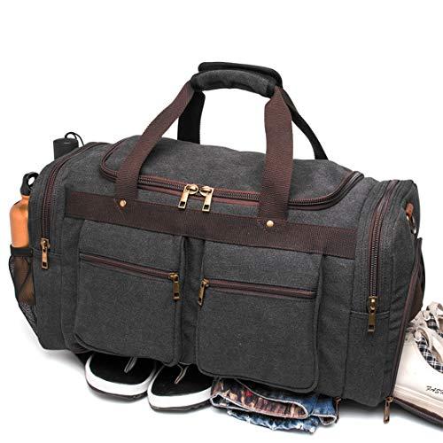 (BLUBOON Canvas Duffel Bag Vintage Weekender Overnight Bag Travel Tote Luggage Sports Duffle)