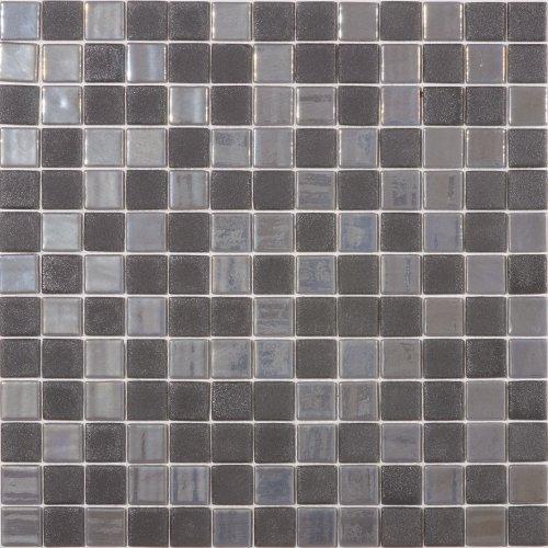 Susan Jablon Mosaics - Stormy Gray Textured Recycled Glass Mosaic