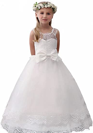 2018 Vintage Flower Girl Dresses For Weddings Lace Bow Kids First Communion Gown
