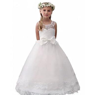 Amazon.com: Angel Dress Shop Vintage White Scoop Flower Girl Dress ...
