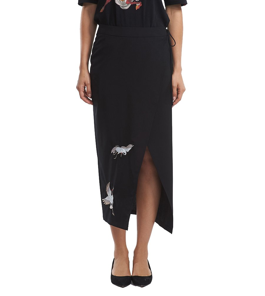 Husenji Woman Girls chinese fashion style the Cranes of embroidery high waist stretch Pencil skirt 花笙记 China (S) by Husenji
