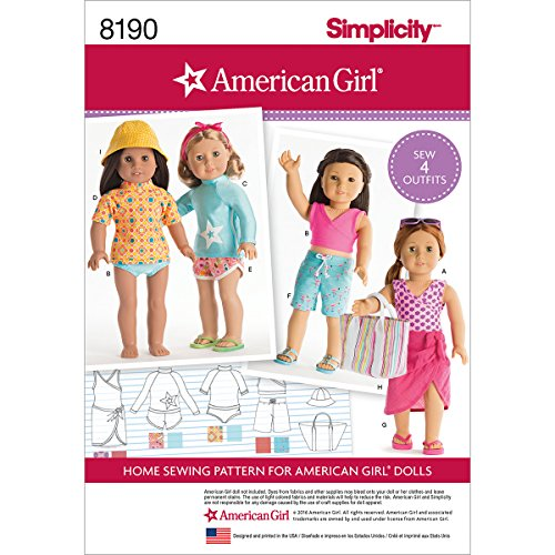 Doll Clothing 18 Pattern - Simplicity 8190 American Girl 18'' Doll Beach Clothing Sewing Patterns
