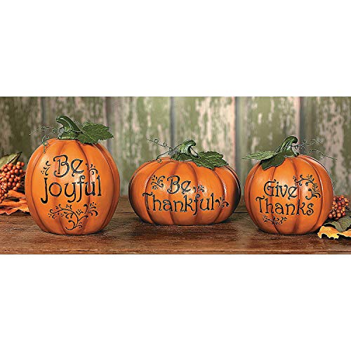 Pumpkin Thanksgiving Set - Fun Express - Carved Thanksgiving Pumpkin Set S/3 for Thanksgiving - Home Decor - Figurines - Molded - Thanksgiving - 3 Pieces