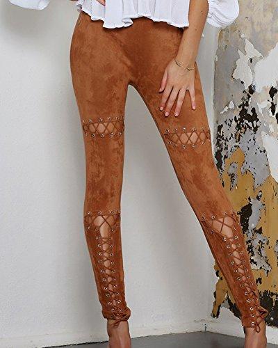 Jeans Denim Femmes Pantalons Trou Sangles Taille Croises Sexy Retro Haute Marron Longue 00qrtxwcaY