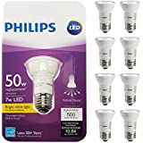Philips (8 Pack) LED Flood Light Bulbs Indoor 50W Equivalent 7W Dimmable White 500 Lumens Bright Bulk