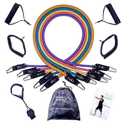 🥇 Ryher Gomas elásticas Fitness y Ejercicio – Kit de 12 con Asas