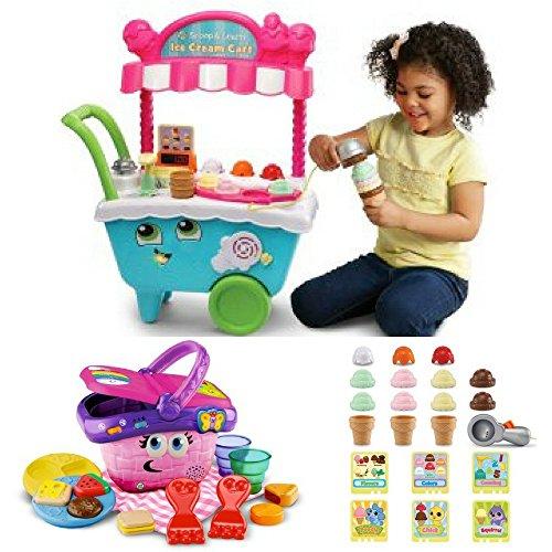 Pique Ice Cream - LeapFrog Scoop & Learn Ice Cream Cart & Shapes & Sharing Picnic Basket, Pre-Kindergarden Pre- school, Play Pretend, Fun, Educational Activity Bundle, Set For Kids (Bundle)