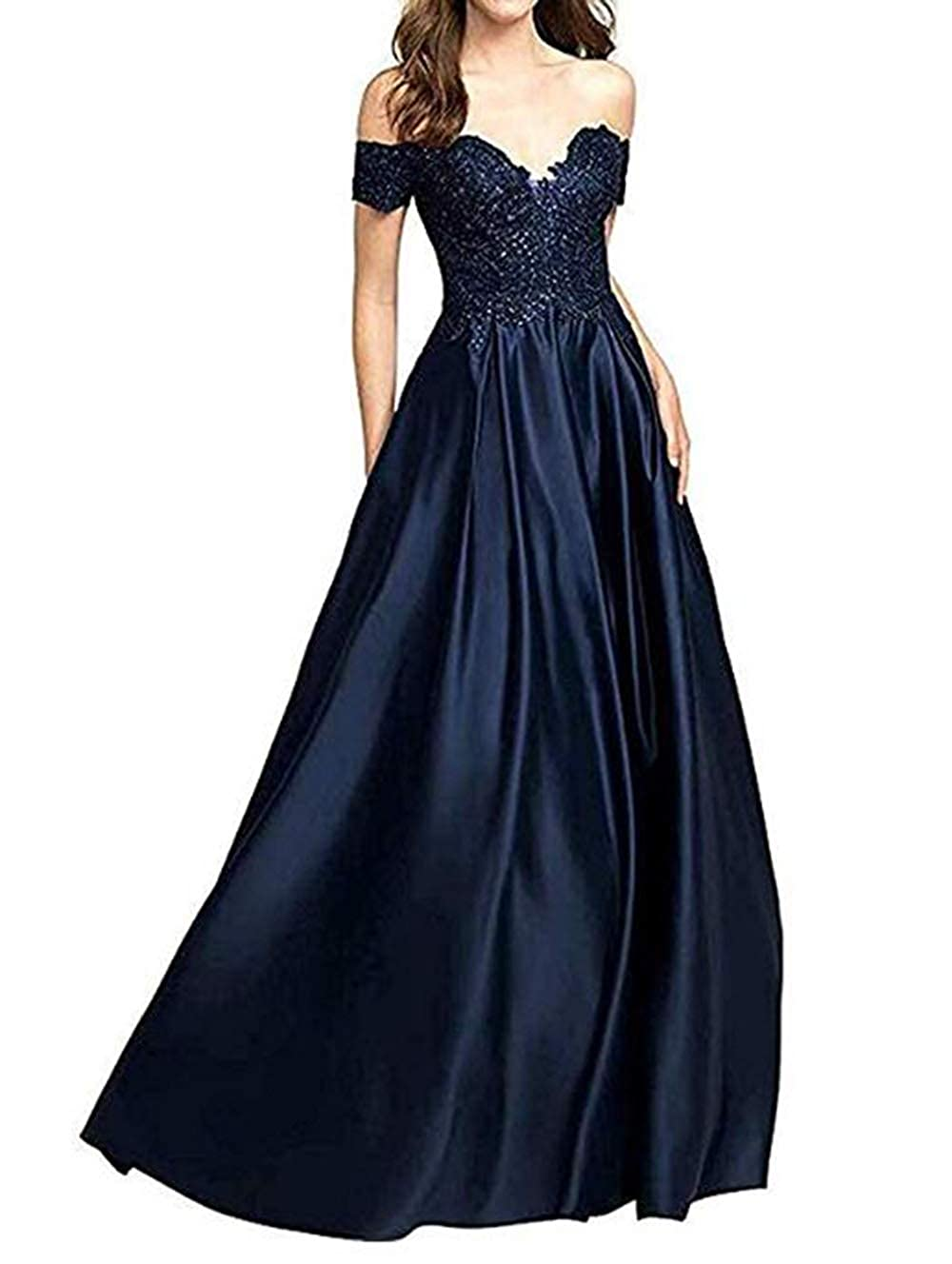Navy bluee alilith.Z Sexy Off The Shoulder Prom Dresses Long Beaded Lace Satin Evening Dresses Party Gowns for Women 2019