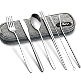 Portable Stainless Steel Flatware Set, Travel Camping Cutlery Set, Portable Utensil Travel Silverware Dinnerware Set with a Waterproof Case (6pcs Stainless Steel Flatware with Upgrade Bag)