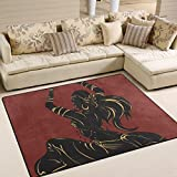 SAVSV Large Area Rugs Tribal Bellydance Dancer Silhouette Printed,Lightweight Water-Repellent Floor Carpet For Living Room Bedroom Home Deck Patio,6'8'' x 4'10''