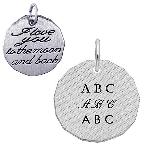(Rembrandt Charms Engravable Sterling SilverI Love You to the Moon and Back Charm (18.75 x 18.75 mm))