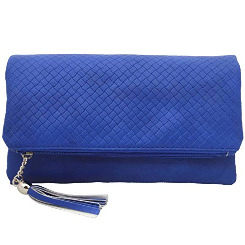 BMC Womens Sapphire Blue Textured PU Faux Leather Quilted Pattern Triple Compartment Zipper Tassel Fashion Clutch (Blue Leather Handbags)