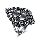 Black Filigree Flower Heart Midi Ring Women Fashion Birthday Gift For Friend Sister Family