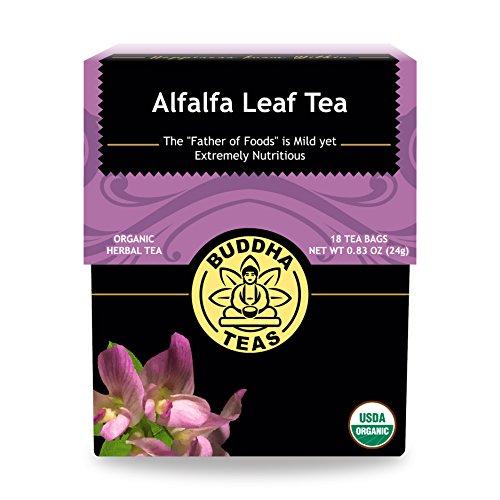 Organic Alfalfa Leaf Tea - Kosher, Caffeine-Free, GMO-Free - 18 Bleach-Free Tea Bags