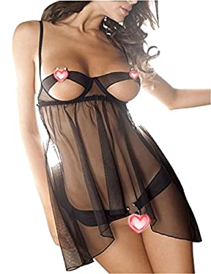 SeClovers Women See-through Cupless Sexy Lingerie with G-string Set Black