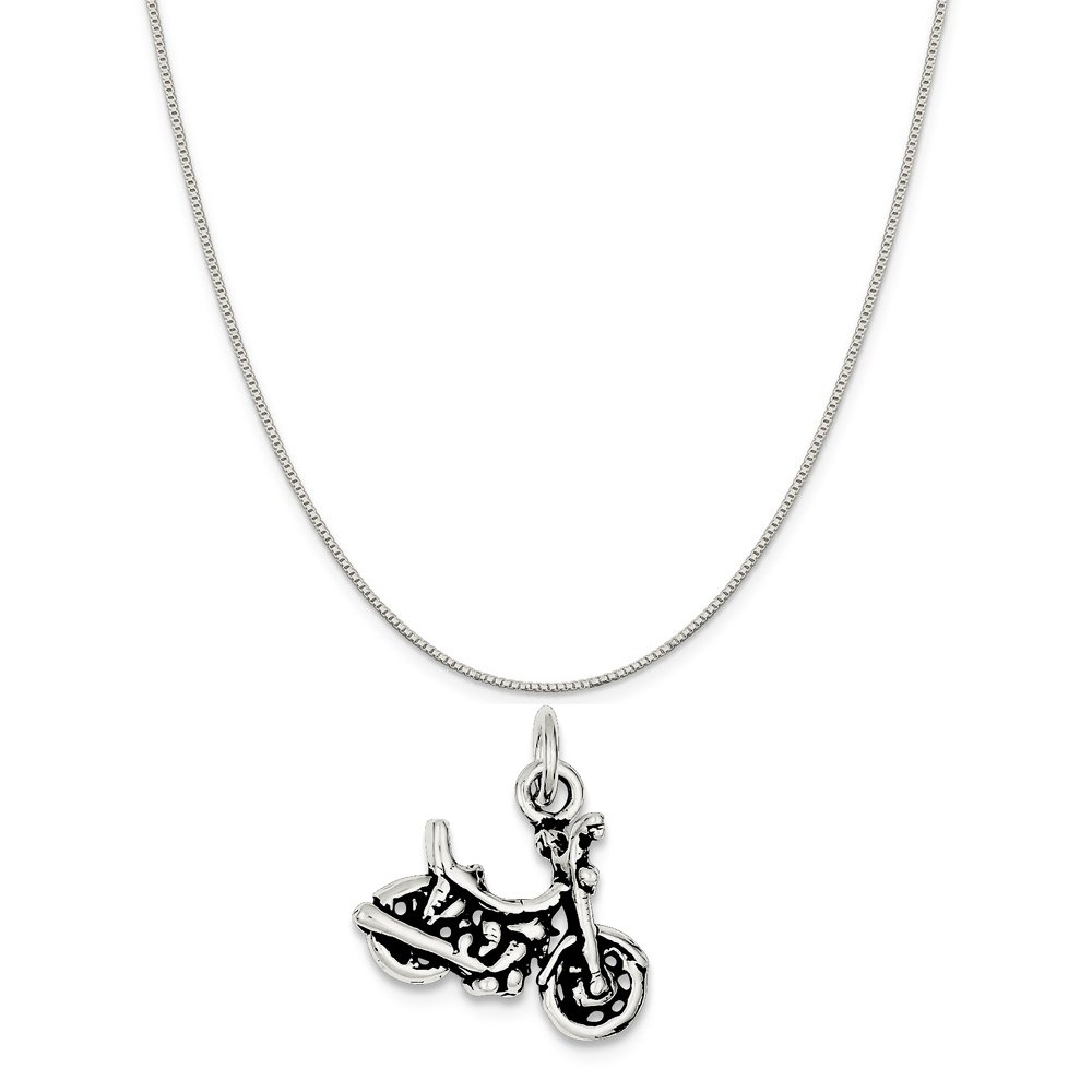 Mireval Sterling Silver Antiqued Motorcycle Charm on a Sterling Silver Chain Necklace 16-20