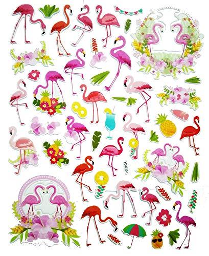 (PP Sticker 1 Sheet Pink Flamingo Tropical Birds Wildlife Flamingo Beach Cartoon Bubble Wall Stickers Art Decal Mural Kids Bedroom Decor Design Scrapbooking Card Diary Album for Kids Children)