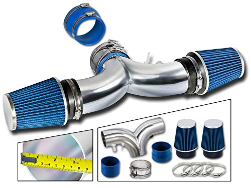 Rtunes Racing Short Ram Air Intake Kit + Filter Combo BLUE Compatible For 94-96 Impala SS / 94-96 Caprice 4.3L/5.7L V8 Dual (with 2 Filters) - 96 Chevy Impala Ss