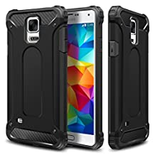 Galaxy S5/S5 Neo Case,Wollony Rugged Hybrid Dual Layer Armor Protective Back Case Shockproof Cover for Galaxy S5 / S5 Neo - Heavy Duty - Slim Hard Shell Protection - Impact Resistant Bumper(Black)