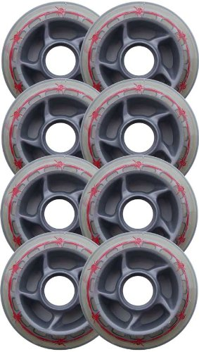 Pro Stock BARBED WIRE 80mm 80a Rollerblade INLINE Wheels 8-Pack - 80a Red Skate Wheels