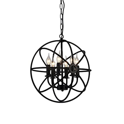 6 Light Cage Lantern Motent Industrial Vintage Black Metal Ball