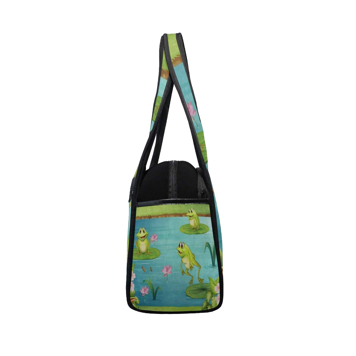 Gym Bag Cute Frog Water Lily Women Yoga Canvas Duffel Bag Crossbody Tennis Racket Tote Travel Bags