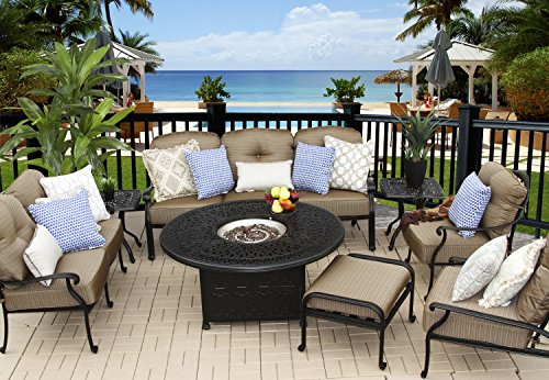 Heritage Outdoor Living Cast Aluminum Elisabeth Outdoor Patio 8pc Deep Seating Set with 52
