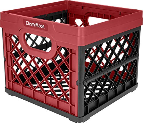 CleverMade Collapsible Milk Crate - Stackable Collapsible Storage Bin/Container / Utility Tote, 25 Liters, Red by CleverMade