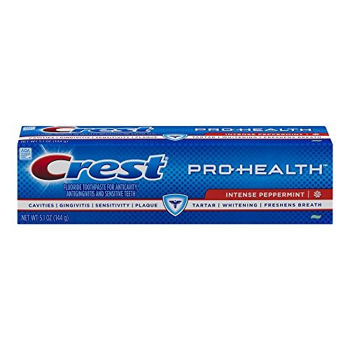 Crest Pro-Health Intense Peppermint Fluoride Toothpaste 5.1 Ounces (Pack of 3)