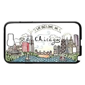 Jackalondon Art Prints Samsung Galaxy Note 2 Case We Belong in Chicago, Girls Art Prints, {Black}