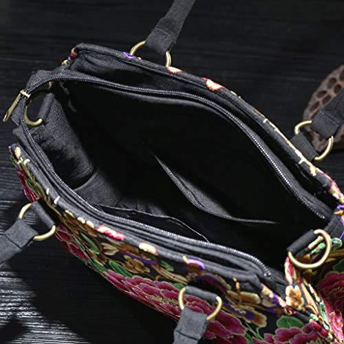 hombro Red bordado bolso de étnico las del bolso de flower lona de Dtongtong Estilo crossbody señoras bolso la qXgX7wa