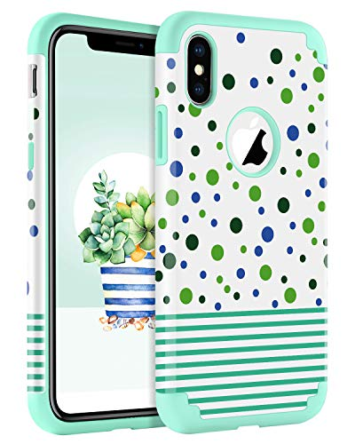 BENTOBEN Case for iPhone Xs/iPhone X, Dual Layer Hybrid Heavy Duty Full Body Shockproof Protective Rugged Bumper Girl Women Phone Cases for iPhone Xs 2018 / X 2017 5.8 Inch, Mint Green