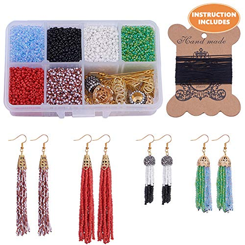 SUNNYCLUE 1 Box DIY 6 Pair Beaded Tassel Earrings Boho Long Fringe Drop Dangle Earrings Making Kit Art Crafts Making Supplies Instruction for Girls Women