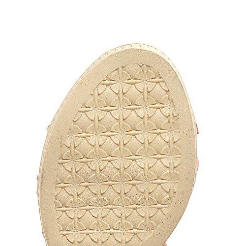Pink Sandals Buckle Kitten PU Toe Open Heels Assorted WeenFashion Wedges Women's Color wCxZqPCS6