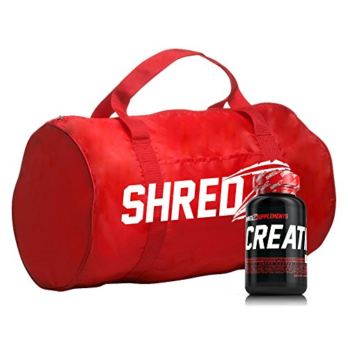SHREDZ Creatine For Men, 120 Capsules, 30 Day Supply + FREE Duffle Bag - Build Muscle, No Bloating, Boosted Performance, Increased Pump & Vascularity