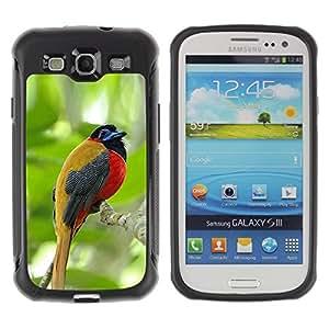 Suave TPU Caso Carcasa de Caucho Funda para Samsung Galaxy S3 I9300 / tropical songbird jungle woods green / STRONG