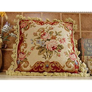 16″ Home D�cor Pillow French Country Chic Shabby Handmade Needlepoint Pillow Cover