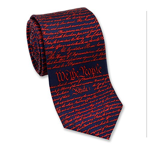 (Josh Bach Mens Constitution of United States Silk Necktie Blue Red, Made in USA)