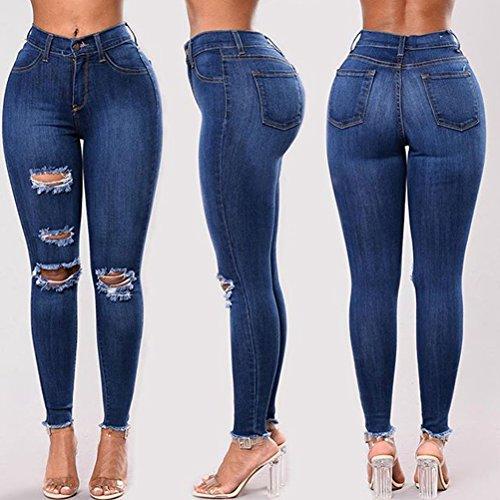 Skinny Jeans Denim Boyfriend Style Moda Vaqueros Agujero Destruido Estiramiento 3 Butt Mujeres para Lavar Blue Zhhlinyuan Pantalones Lifting ypXFPqR