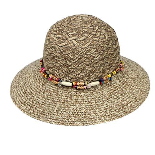 Yeefant Summer Flat Wide Brim Cap Women Beach Floppy Bead Paper Straw Hat