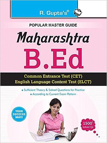 Buy Maharashtra B Ed  (CET & ELCT) Exam Guide (Popular