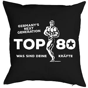 Cojín con mensaje Cumpleaños Diseño: germanys Next Generation Top 80. ¿Qué son tus Fuerzas–Sofá Cojín–Regalo–Negro
