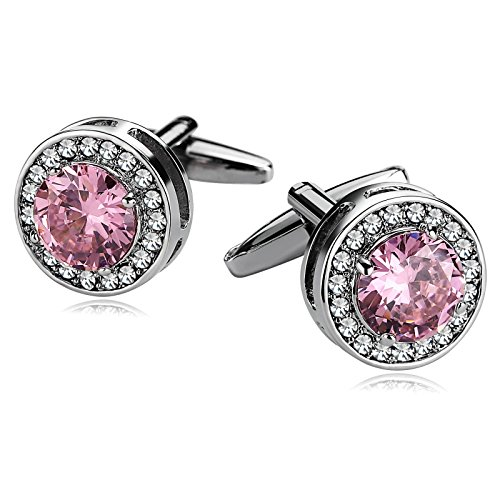 Gnzoe Men Stainless Steel Shirt Cuff Links Wedding Business Crystal Round Zirconia Silver ()