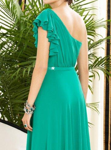 Une Ligne D'une Épaule Robes Du Soir En Mousseline De Soie De Longueur De Plancher Vert Dearta Femmes