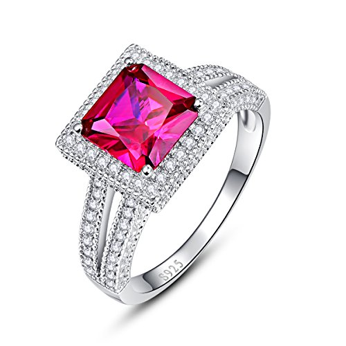 Nuncad Women Solid 925 Sterling Silver Created Red Ruby Engagement Ring Wedding Band Bridal Anniversary Size 6