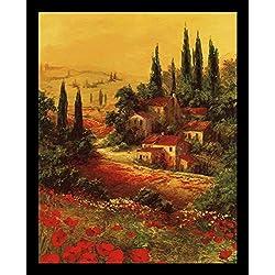 Buyartforless Framed Toscano Valley I by Art Fronckowiak 28x22 Tuscan Landscape Art Print Poster
