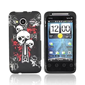SKULLS BLACK Rubberized Hard Case For HTC EVO Shift 4G