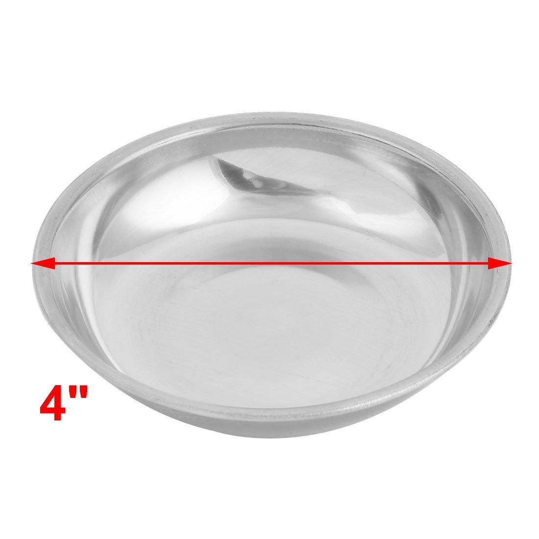 Amazon.com | eDealMax acero inoxidable cocina casera de platos de salsa de sal Placa 10cm 4pcs Dia tono de plata: Accent Plates